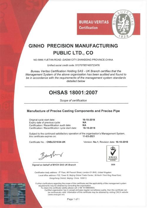 Ginho Certification OHSAS 18001:2007